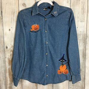 💣 Vintage Halloween Pumpkin Button Down Shirt SM